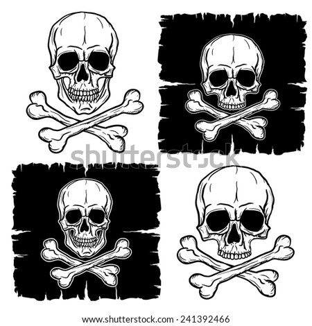 Set of Skulls with Crossbones isolated on white. Freehand drawing. Raster version of the illustration. - stock photo