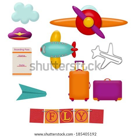 set of sky travel items - stock photo