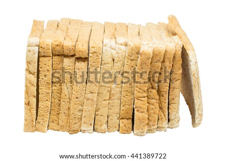 set of slices of daily whole wheat bread clean food breakfast on happy morning isolated on white background