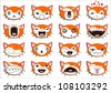 Set of 16 smiley kitten faces. all grouped. Vector version also available in gallery - stock vector