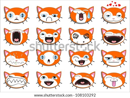 Set of 16 smiley kitten faces. all grouped. Vector version also available in gallery - stock photo