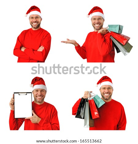 Set of smiling christmas man wearing a santa hat isolated on the white background - stock photo