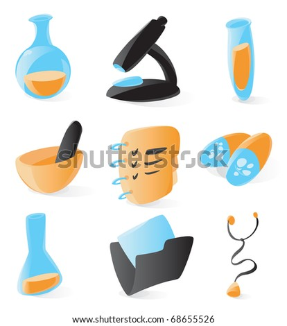 Set of smooth and glossy medical and chemical icons. Raster version. Vector version is also available. - stock photo