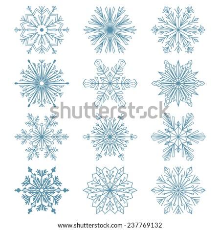 Set of snowflakes. Blue  snowflakes on a white background. Beautiful winter ornament. Snowflake icons - stock photo