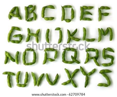 Set of soybean alphabet letters over white background - stock photo