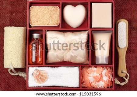 Set of SPA accessory. Top view point. - stock photo