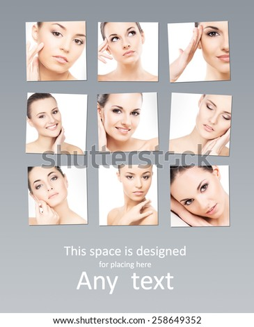 Set of spa portraits of young, beautiful and healthy girls. Cosmetics, makeup and plastic surgery concept.  - stock photo