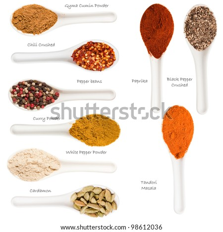 Set of spices heaps isolated on white background - stock photo