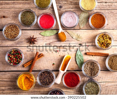 Set of Spices on wood background. Food - stock photo