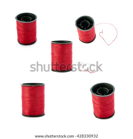 Set of Spool of red thread isolated over the white background - stock photo
