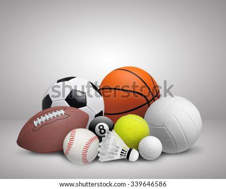 Set of sport balls on gray background - stock photo