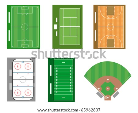 Set of sport fields and courts. Vector file also available. - stock photo