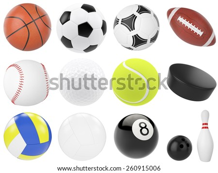 Set of sports balls, soccer, basketball, bowling, rugby, tennis, volleyball, hockey, baseball, billiards, golf, puck. 3d illustration high resolution - stock photo