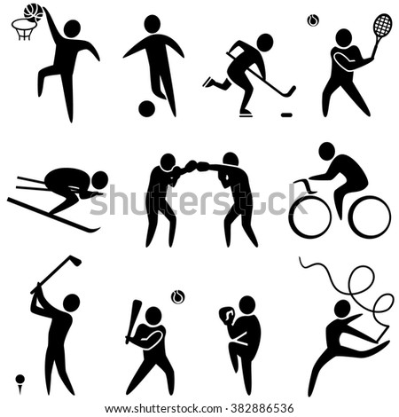 Set of sports icons: basketball, soccer, hockey, tennis, skiing, boxing, wrestling, cycling, golf, baseball, gymnastics. Sport icons set Jpg - stock photo