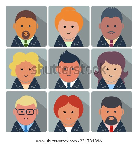 Set of square avatar icons with businessmen and businesswomen in formal wear. Raster version  - stock photo