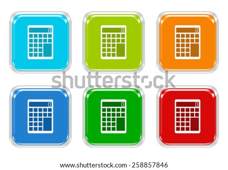 Set of squared colorful buttons with calculator symbol in blue, green, red and orange colors - stock photo