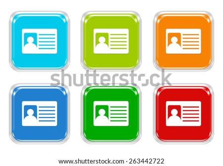 Set of squared colorful buttons with identification card symbol in blue, green, red and orange colors - stock photo