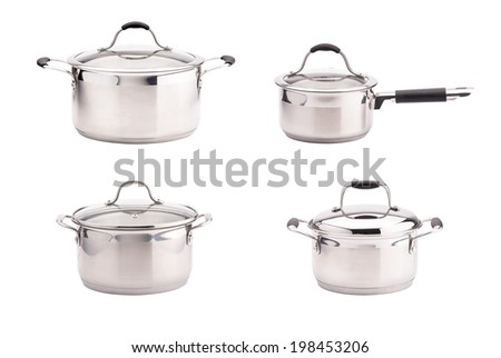 Set of stainless steel saucepans isolated on white background - stock photo