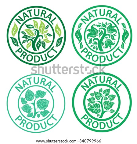 Set of stamps with leafs - natural product - stock photo