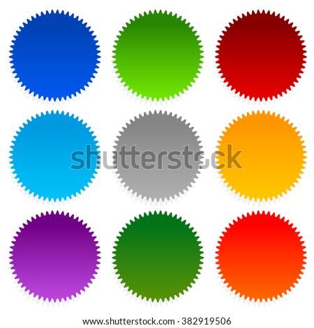 Set of starburst, price flash shapes on white. - stock photo