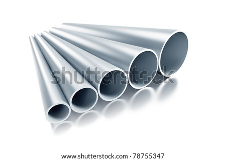 set of steel tubing 3d rendering - stock photo