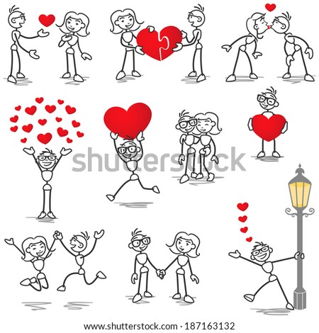 Set of stick figures: Stickman and woman in love, with hearts, holding hands, kissing. - stock photo