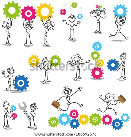 Set of stick figures: Stickman with cog wheels, gears, interacting with coworkers, teamwork, mechanical. - stock photo