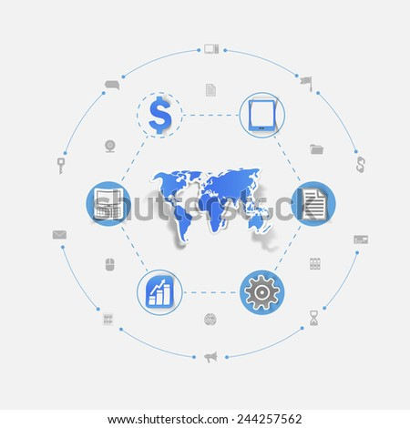 Set of sticker design. Global high-tech concept - stock photo