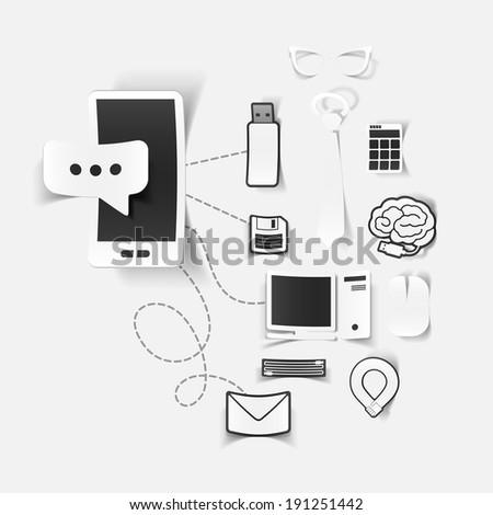 Set of sticker design. High-tech business concept - stock photo
