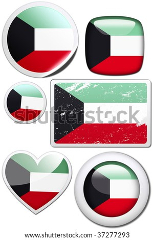 Set of stickers and buttons - Kuwait - stock photo