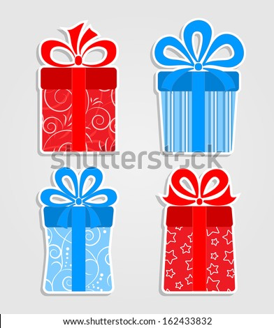 Set of stickers - red and blue  gift boxes