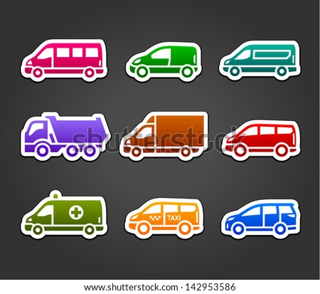 Set of sticky stickers, transport color symbols. Vector version (eps) also available in gallery - stock photo