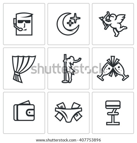 Set of Strip Club Icons. Security, Night, Love, Stage, Striptease, Drink, Money, Gratuity, Bar. Guard, Crescent, Cupid, Curtain, Dance, Wineglass, Wallet, Panties Thong, Chair - stock photo
