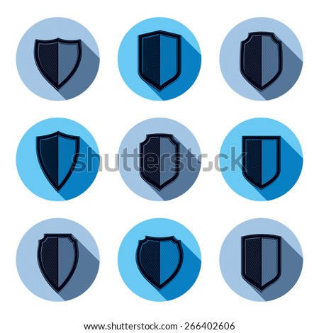 Set of stylized coat of arms, decorative defense shields collection. Heraldic symbols, Protection and security idea. - stock photo