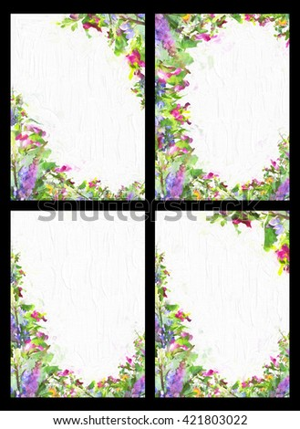 Set of stylized frames with  floral pattern - bouquet for background, label, sticker, wallpaper, postcard, poster, invitation, wedding invitation, logo, decoration, fabric, cover, dress, greeting card - stock photo
