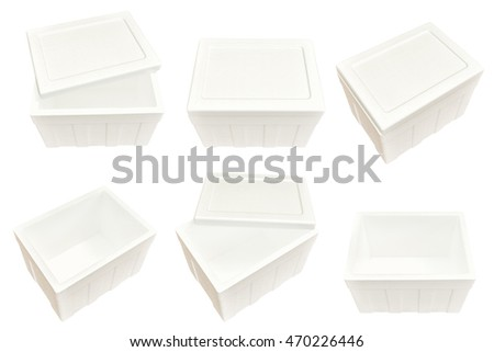 Set of styrofoam storage box isolated on white background.