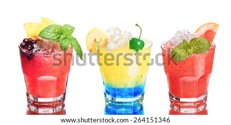Set of summer alcoholic cocktails isolated on white