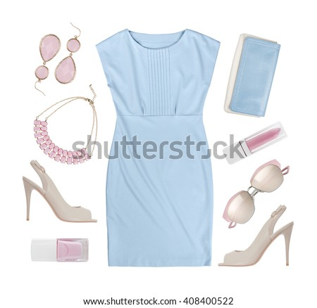 Set of summer women clothes and accessories isolated on white - stock photo