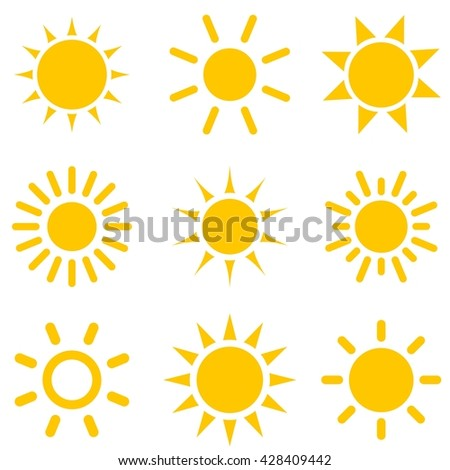 set of sun icons. Raster version
