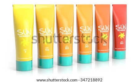 set of sunscreen lotions isolated on white background - stock photo