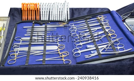 set of surgical tools medical equipment isolated on white background with clipping path - stock photo