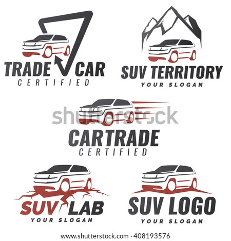 Set of SUV car service logo templates. Automotive repair and service theme concept. Rental Car Logo Template Design. Isolated modern suv front and side view. - stock photo