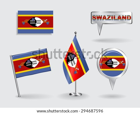 Set of Swaziland pin, icon and map pointer flags. Raster version - stock photo
