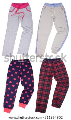 Set of sweatpants. Isolated on a white background. - stock photo