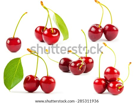 Set of sweet cherrys isolated on white background - stock photo