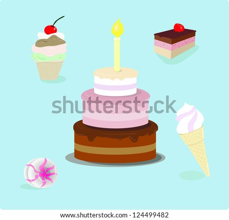 Set of sweets. Birthday cake, ice-cream, candy. cartoon