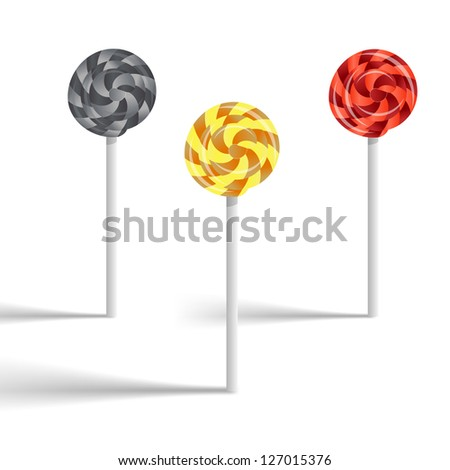 Set of swirly lollypop Gold silver and bronze, vector illustration - stock photo