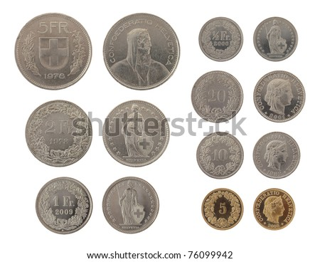 Set of Swiss Franc coins isolated on white