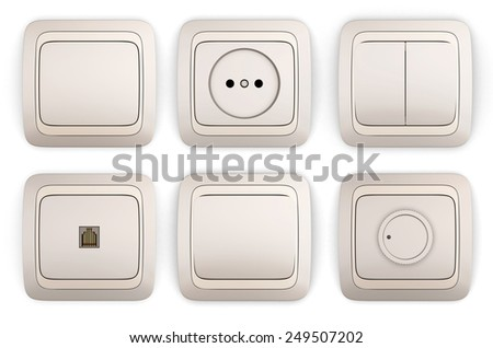 Set of switches and sockets isolated on white background. 3d render image. - stock photo