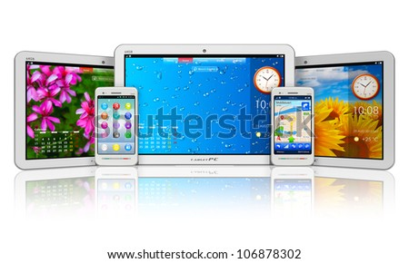 Set of tablet computers and smartphones with colorful interfaces isolated on white background with reflection effect